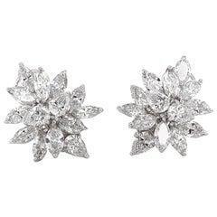 Pear Cut Diamonds 10.63 Carat Platinum Earrings