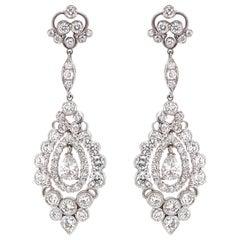 Pear Cut Diamond 1.12 Carat Round Diamonds 6.32 Carat Platinum Drop Earrings