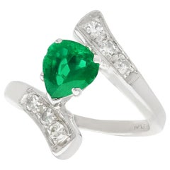 Pear Cut Emerald and Diamond Platinum Cocktail Ring