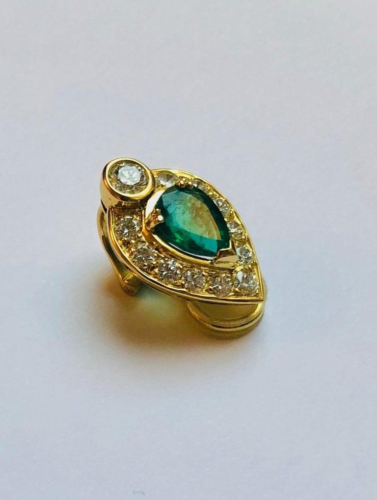 Pear-Cut Emerald Earrings For Sale 1