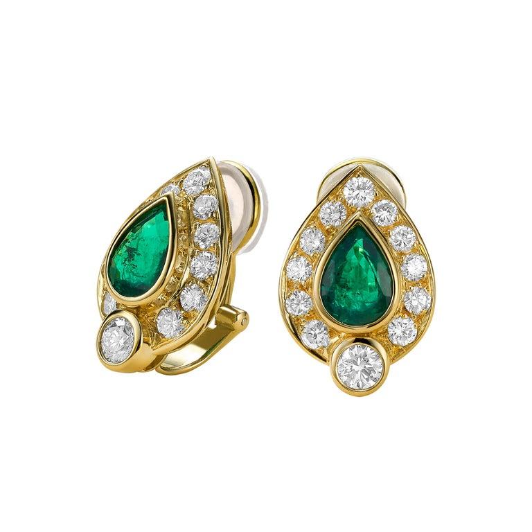 Pear-Cut Emerald Earrings For Sale