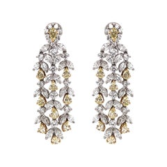 Pear Cut Fancy Yellow Diamonds 6.90 Carat Diamond Chandelier 18K Gold Earrings