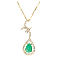 Pear Cut Green Emerald and Diamond Drop Pendant with 18 Carat Yellow Gold Chain