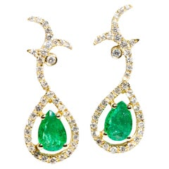 Pear Cut Green Emerald and Diamond Drop Vintage Earrings in 18 Carat Yellow Gold