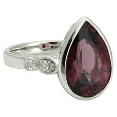 Pear Cut Rhodolite Garnet and Diamond Ring in White Gold