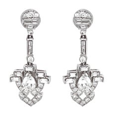 Pear Cut Round Diamonds 3.34 Carat Platinum Drop Earrings