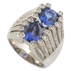 Pear Cut Tanzanite and Diamond Ring 6.73 Carat Tanzanite 1.20 Carat Diamonds