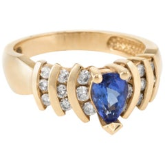 Pear Cut Tanzanite Diamond Ring Vintage 14 Karat Yellow Gold Estate Fine Jewelry