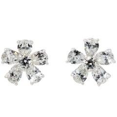 Pear Cut White Diamond Earrings in 18 Karat White Gold