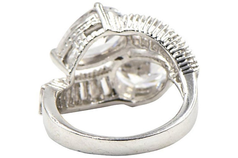 Women's or Men's Pear CZ Sterling Silver Bypass Cocktail Ring For Sale
