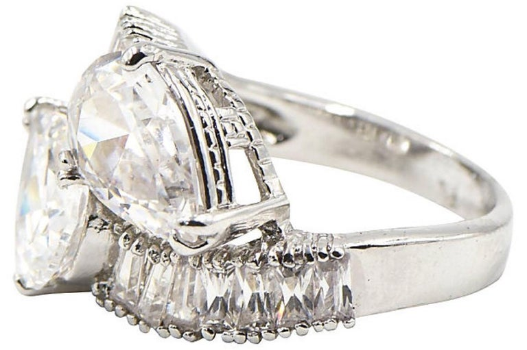 Pear CZ Sterling Silver Bypass Cocktail Ring For Sale 1