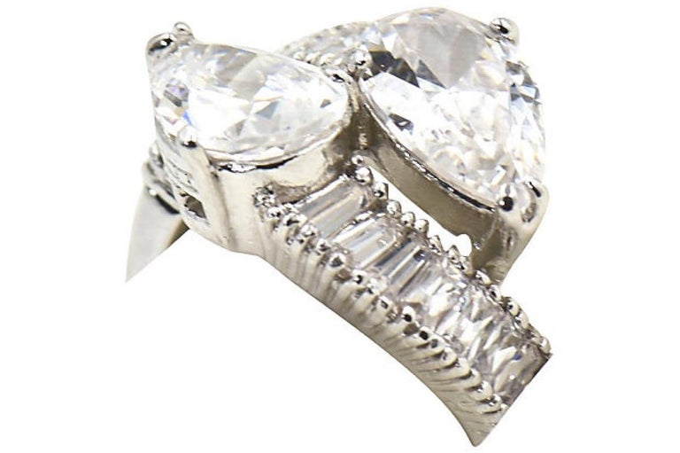 Pear CZ Sterling Silver Bypass Cocktail Ring For Sale 2