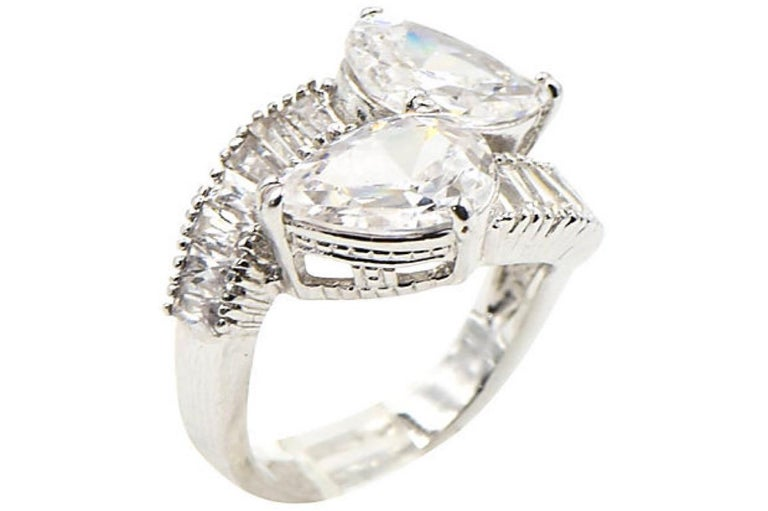 Pear CZ Sterling Silver Bypass Cocktail Ring For Sale 4