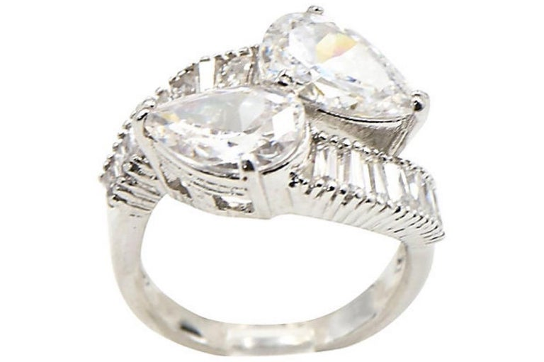 Pear CZ Sterling Silver Bypass Cocktail Ring For Sale 5