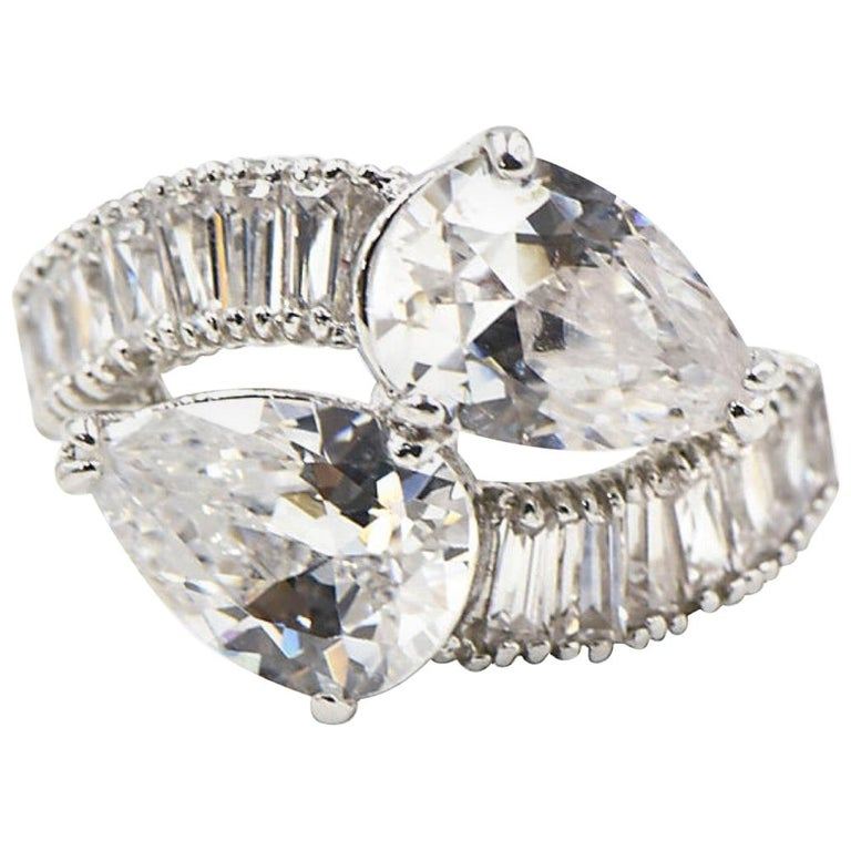 Pear CZ Sterling Silver Bypass Cocktail Ring For Sale