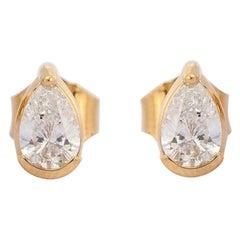 Pear Diamond 18 Karat Gold Stud Earrings