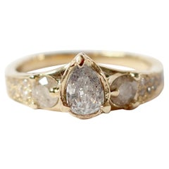 Pear Diamond Gold Ring with Pave Diamond Band