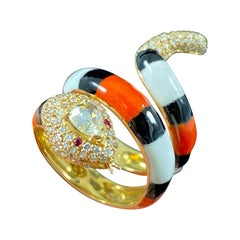 Pear Diamond Orange Black White Enamel Coiled Serpent Snake Ring Yellow Gold
