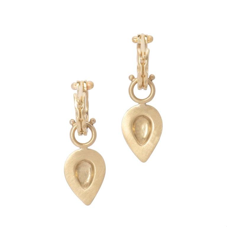 Women's Pear Drop Hoop Earrings in 18 Karat Gold For Sale