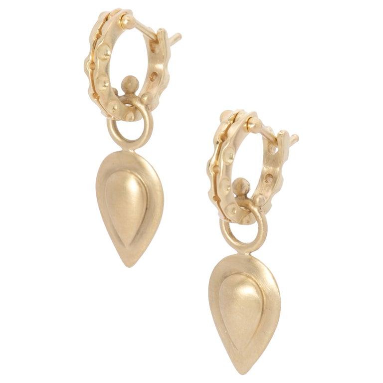 Pear Drop Hoop Earrings in 18 Karat Gold For Sale