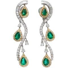 Pear Emerald Diamond 18 Karat Yellow and White Gold Chandelier Earrings