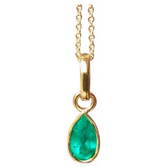 Pear Emerald Pendant Charm 18 Karat Yellow Gold