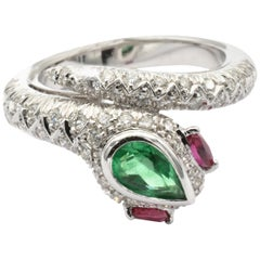 Pear Emerald, Rubies and Diamonds White Gold Snake Ring Made in Italy