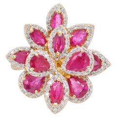 Pear Marquise Ruby Flower Diamond Cocktail Ring 18 Karat Yellow Gold