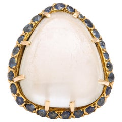 Pear Moonstone Sapphire Yellow Gold Ring