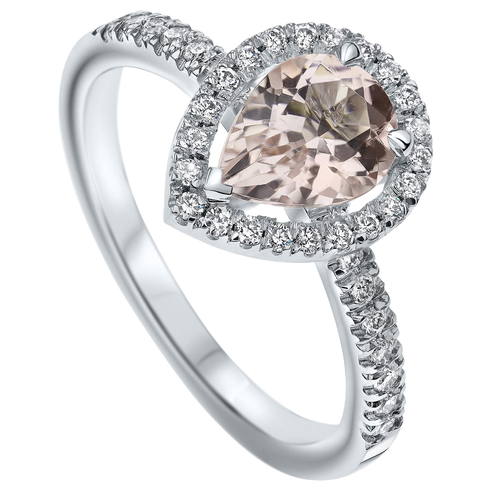 Pear Morganite and Diamonds Ring 14 Karat in White Gold by Shlomit Rogel