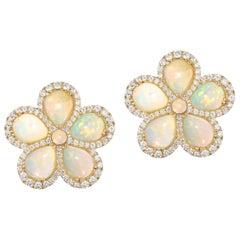 Goshwara Pear Opal And Diamond Cluster Earrings