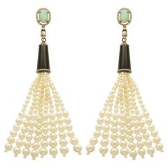 Pearl, Diamond, Opal, Onyx Cocktail Earrings