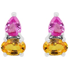 Pear Pink and Yellow Sapphire Earrings