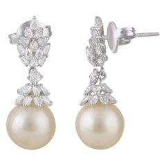 Pear Rose Cut Diamonds and Pearls Dangling Earrings in 18 Karat Gold