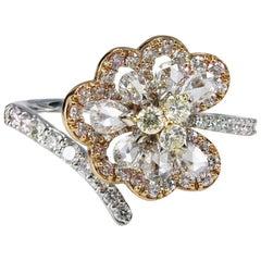 Pear Rose Cut Diamonds Lotus Leaf Cocktail Ring in 18 Karat Gold