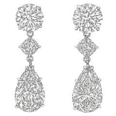 Pear, Round and Cushion Diamond Pendant Earrings
