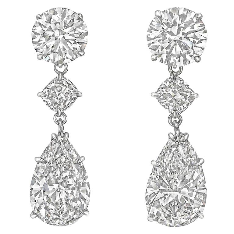 Pear, Round and Cushion Diamond Pendant Earrings For Sale