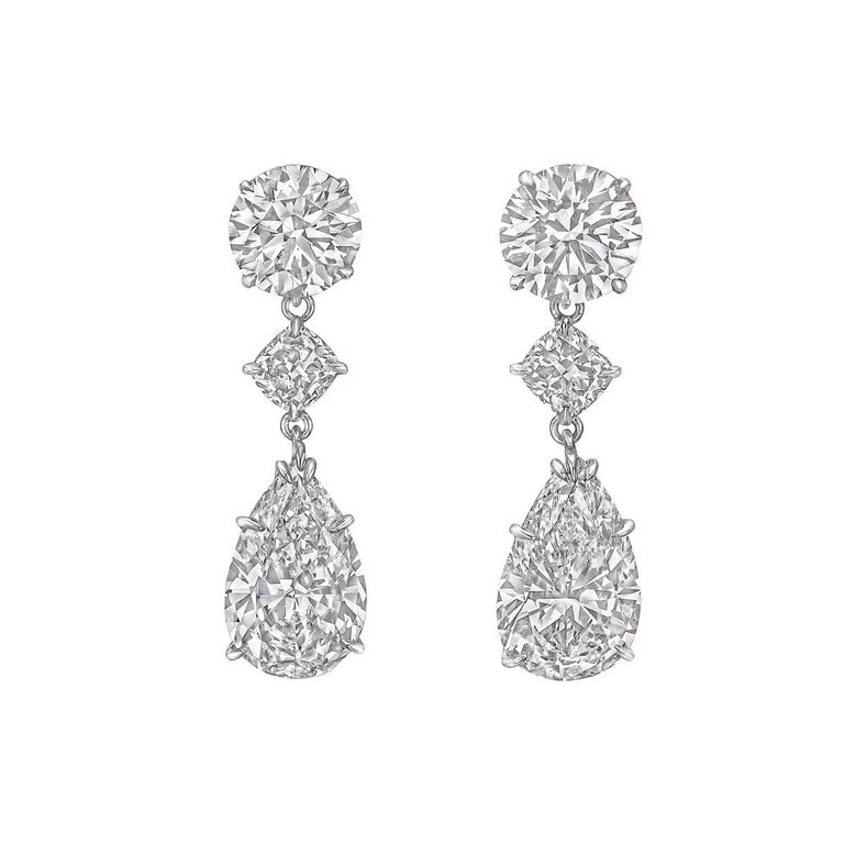 Pear, Round and Cushion Diamond Pendant Earrings In Excellent Condition For Sale In Greenwich, CT