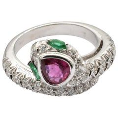 Pear Ruby, Emeralds and Diamonds White Gold Snake Ring Made in Italy