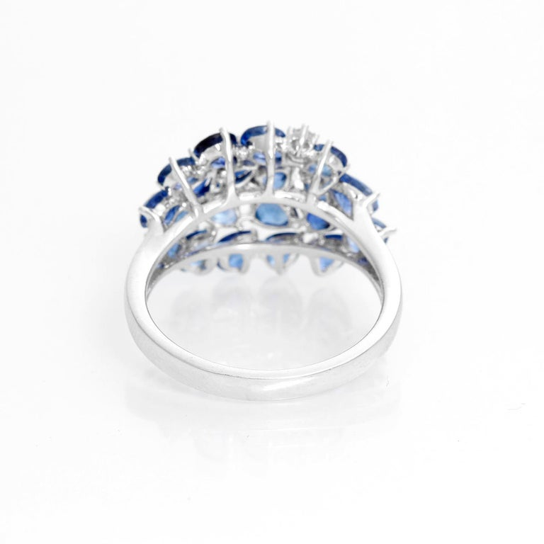 Pear Sapphire and Diamond 14 Karat White Gold Ring In New Condition For Sale In Dallas, TX