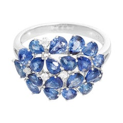 Pear Sapphire and Diamond 14 Karat White Gold Ring