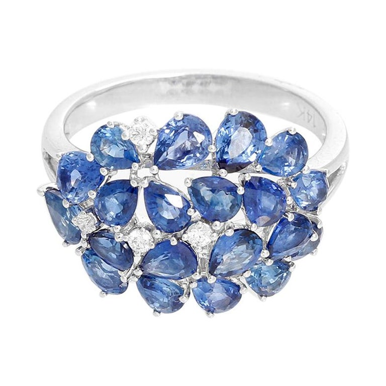 Pear Sapphire and Diamond 14 Karat White Gold Ring For Sale
