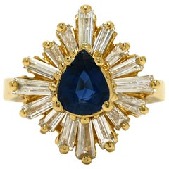 Pear Sapphire Baguette Diamond Cluster Gold Ballerina Ring Statement Jewelry