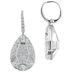 Pear Shape 1.93 Carat Pave Diamond Earrings