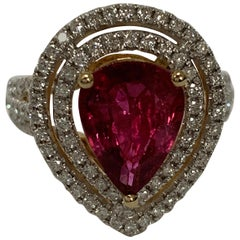 Pear Shape 2.55 Carat Ruby and Diamond Ring