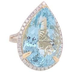 Pear Shape 26.71 Carat Aquamarine and Diamond Ring