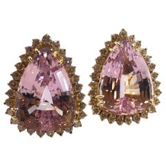 Pear Shape 30 Carat Kunzite and Diamonds 18 Karat Yellow Gold Earrings