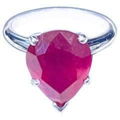 Pear Shape 4.5 Carat Treated Ruby 14 Karat White Gold Ring