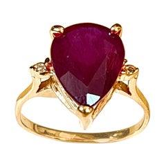 Pear Shape 6 Carat Treated Ruby & Diamond 14 Karat Yellow Gold Ring