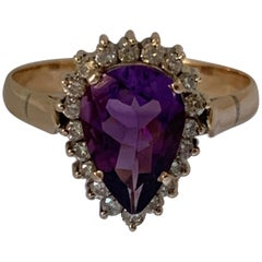 Pear Shape Amethyst and Diamond 14 Carat Gold Ring